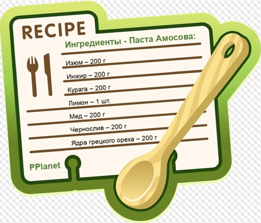Ингредиенты паста Амосова