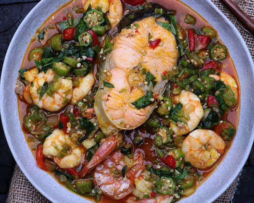 Суп с окрой и морепродуктами